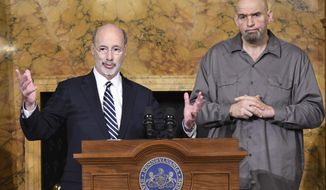 "Gov. Tom Wolf of Pennsylvania speaks at a news conference with Lt. Gov. John Fetterman in his Capitol reception room, Thursday, Jan. 24, 2019 in Harrisburg, Pa. The men announced that Fetterman will open a ""conversation"" about legalizing marijuana in Pennsylvania by scheduling a series of town hall-style sessions on it. (AP Photo/Marc Levy)"