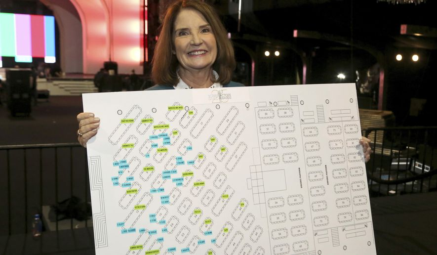 "SAG Awards Executive Producer Kathy Connell holds the seating chart of the ceremony at the 25th Annual SAG Awards ""Cocktails with the SAG Awards"" event at the Shrine Auditorium and Expo Hall on Thursday, Jan. 24, 2019, in Los Angeles. (Photo by Willy Sanjuan/Invision/AP)"