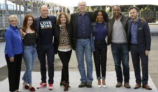 Lisa Burns, from left, Elizabeth McLaughlin, Anthony Carrigan, Kathy Connell, Daryl Anderson, Yara Shahidi, Jason George and JD Heyman pose for the press after rolling out the carpet at the 25th annual SAG Awards - Silver Carpet Roll Out event at the Shrine Auditorium and Expo Hall on Friday, Jan. 25, 2019, in Los Angeles. (Photo by Willy Sanjuan/Invision/AP)