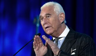Roger Stone speaks at the American Priority Conference in Washington, Dec. 6, 2018. Mr. Stone, an associate of President Donald Trump, has been arrested in Florida. That's according to special counsel Robert Mueller's office, which says he faces charges including witness tampering, obstruction and false statements. Stone has been under scrutiny for months but has maintained his innocence. (AP Photo/Jose Luis Magana) **FILE**