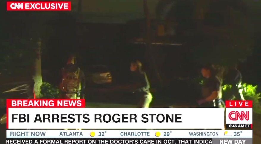FBI agents arrest longtime political operative Roger Stone on Jan. 25, 2019 at his Fort Lauderdale, Florida, home. (Image: CNN screenshot)