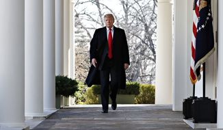 President Trump is prepared to orchestrate another shutdown or declare a national emergency to secure funding for a U.S.-Mexico border wall if Congress can't strike a security deal by the new funding deadline of Feb. 15, the White House chief of staff says. (Associated Press/File)
