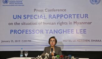 Yanghee Lee, U.N. Special Rapporteur on the Situation of Human Rights in Myanmar, holds a news conference after visiting Rohingya refugee camps in Cox's Bazar, in Dhaka, Bangladesh, Friday, Jan. 25, 2019. (AP Photo)