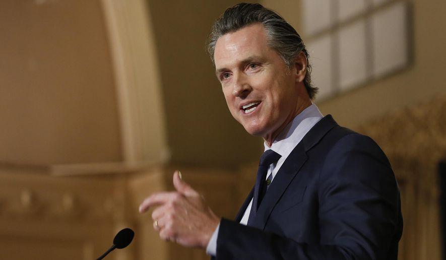 In this Jan. 17, 2019, file photo, California Gov. Gavin Newsom speaks at the California Legislative Black Caucus Martin Luther King Jr. Breakfast in Sacramento, Calif. (AP Photo/Rich Pedroncelli, File)