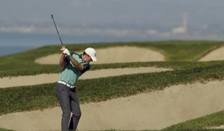 Jordan Spieth hits out of the bunker on the fourth hole during the second round of the Farmers Insurance Open golf tournament on the South Course at Torrey Pines Golf Course on Friday, Jan. 25, 2019, in San Diego. (AP Photo/Chris Carlson)