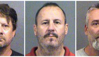 This combination of Oct. 14, 2016, file booking photos provided by the Sedgwick County Sheriff's Office in Wichita, Kan., shows from left, Patrick Stein, Curtis Allen and Gavin Wright, three members of a Kansas militia group who were charged with plotting to bomb an apartment building filled with Somali immigrants in Garden City, Kan. The three militia men could face life in prison for a foiled plot to blow up a mosque and apartments housing Somali immigrants in Kansas. A federal judge will sentence Stein, Wright and Allen on Friday, Jan. 25, 2019. (Sedgwick County Sheriff's Office via AP, File)