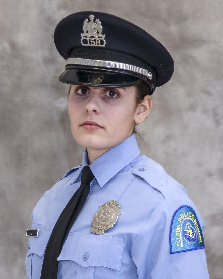 "This undated photo released by the St. Louis Police Department shows officer Katlyn Alix. St. Louis police say an officer ""mishandled"" a gun and accidentally shot and killed Alix early Thursday, Jan. 24, 2019, at an officer's home. On Friday, Jan. 25, 2019 officer Nathaniel Hendren, 29, was charged with involuntary manslaughter in the death of Alix, a 24-year-old military veteran.  (St. Louis Police Department via AP)"