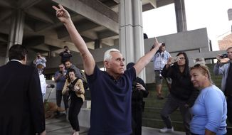 Former campaign adviser for President Donald Trump, Roger Stone leaves the federal courthouse following a hearing, Friday, Jan. 25, 2019, in Fort Lauderdale, Fla.  Stone was arrested Friday in the special counsel's Russia investigation and was charged with lying to Congress and obstructing the probe.