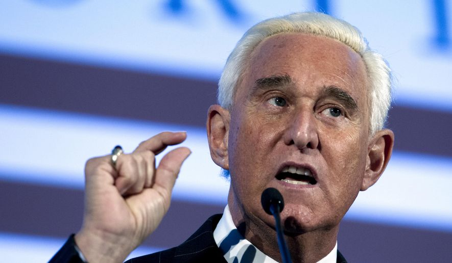In this Dec. 6, 2018, photo, Roger Stone speaks at the American Priority Conference in Washington. Stone, an associate of President Donald Trump, has been arrested in Florida. That's according to special counsel Robert Mueller's office, which says he faces charges including witness tampering, obstruction and false statements. Stone has been under scrutiny for months but has maintained his innocence. (AP Photo/Jose Luis Magana) **FILE**