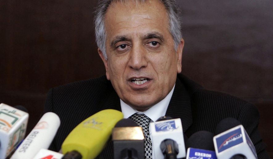 """FILE - In this March 13, 2009, file photo, Zalmay Khalilzad, special adviser on reconciliation, speaks during a news conference in Kabul, Afghanistan.  Khalilzad said Saturday, Jan. 26, 2019,  that """"significant progress"""" was made during lengthy talks with the Taliban in Qatar and that he was traveling to Afghanistan for more discussions aimed at ending the country's destructive 17-year war. Khalilzad said on his official Twitter account that he wants to build on six days of meetings in Doha, the capital of Qatar. (AP Photo/Rafiq Maqbool, File)"""