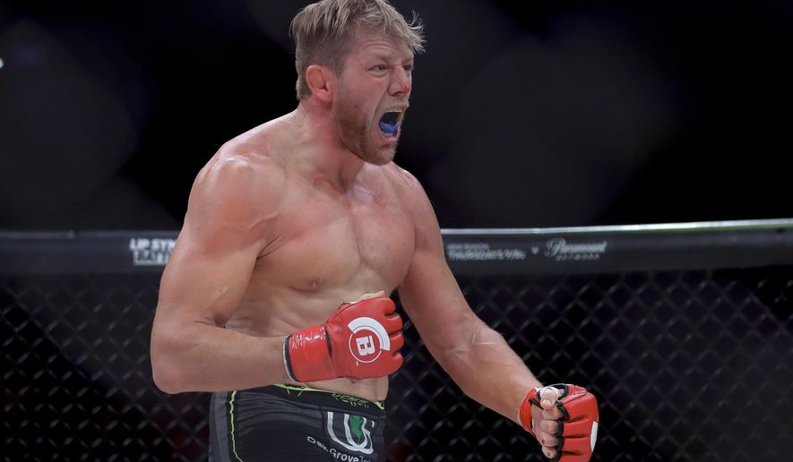 Jake Hager celebrates his win against J. W. Kiser in their mixed martial arts heavyweight bout at Bellator 214 on Saturday, Jan. 26, 2019, in Inglewood, Calif. (AP Photo/Chris Carlson)