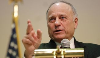 U.S. Rep. Steve King, R-Iowa, speaks during a town hall meeting, Saturday, Jan. 26, 2019, in Primghar, Iowa. King held the first of a promised 39 town hall meetings in his Iowa district since he made racist remarks during a newspaper interview this month that led to a formal rebuke and diminished role in Congress. (AP Photo/Charlie Neibergall)