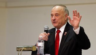 U.S. Rep. Steve King, R-Iowa, speaks during a town hall meeting, Saturday, Jan. 26, 2019, in Primghar, Iowa. (AP Photo/Charlie Neibergall) ** FILE **