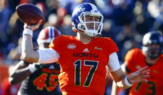 North quarterback Daniel Jones, of Duke, throws a pass during the first half of the Senior Bowl college football game, Saturday, Jan. 26, 2019, in Mobile, Ala. (AP Photo/Butch Dill)