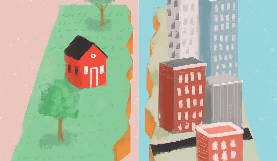 Illustration on urban renewal by Linas Garsys/The Washington Times