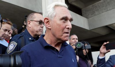 Roger Stone, who was arrested Friday, was charged with one count of obstruction of justice, five counts of false statements and one count of witness tampering. He said he will plead not guilty and fight the charges in court. (Associated Press)