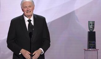 Alan Alda accepts the Life Achievement Award at the 25th annual Screen Actors Guild Awards at the Shrine Auditorium & Expo Hall on Sunday, Jan. 27, 2019, in Los Angeles. (Photo by Richard Shotwell/Invision/AP)