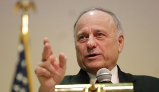 U.S. Rep. Steve King, R-Iowa, speaks during a town hall meeting, Saturday, Jan. 26, 2019, in Primghar, Iowa. King held the first of a promised 39 town hall meetings in his Iowa district since he made racially charged remarks during a newspaper interview this month that led to a formal rebuke and diminished role in Congress. (AP Photo/Charlie Neibergall) **FILE**