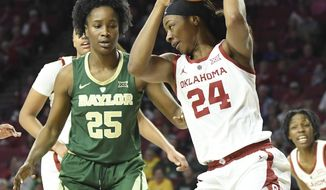 Oklahoma forward Ijeoma Odimgbe (24) pulls in a rebound front of Baylor center Queen Egbo (25) in the first half of an NCAA college basketball game in Norman, Okla., Sunday, Jan. 27, 2019. (AP Photo/June Frantz Hunt)
