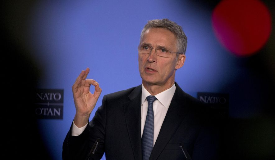 NATO Secretary General Jens Stoltenberg speaks during a media conference after a meeting of the NATO-Russia Council at NATO headquarters in Brussels, Friday, Jan. 25, 2019. (AP Photo/Virginia Mayo)