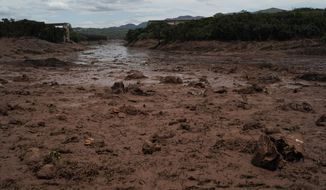 Mud floods an area two days after a dam collapse in Brumadinho, Brazil, Sunday, Jan. 27, 2019. Brazilian officials on Sunday suspended the search for potential survivors of a dam collapse that has killed at least 40 people amid fears that another nearby dam owned by the same company was also at risk of breaching. (AP Photo/Leo Correa)
