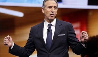 FILE - In this March 22, 2017, file photo, Starbucks CEO Howard Schultz speaks at the Starbucks annual shareholders meeting in Seattle. For someone who has given about $150,000 to Democratic campaigns over the years, Schultz is generating tepid, or even hostile, responses within the party as he weighs a presidential bid in 2020. That's because reports have suggested he's considering running as an independent, a prospect that could draw support away from the eventual Democratic nominee and hand President Donald Trump another four years in office, many fret. (AP Photo/Elaine Thompson, File)