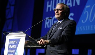 """FILE - In this Dec. 12, 2018, file photo, journalist Tom Brokaw speaks during the Robert F. Kennedy Human Rights Ripple of Hope Awards ceremony in New York. Brokaw says he feels terrible that he offended some Hispanics with his comments on """"Meet the Press"""" Sunday, Jan. 27, 2019, that Hispanics should work harder at assimilation. (AP Photo/Jason DeCrow, File)"""