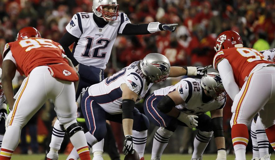 FILE- In this Jan. 20, 2019, file photo New England Patriots quarterback Tom Brady (12) calls a play during the first half of the AFC Championship NFL football game against the Kansas City Chiefs in Kansas City, Mo. The Los Angeles Rams and New England Patriots are bringing two of the top scoring offenses in the NFL to the Super Bowl. (AP Photo/Elise Amendola, File)