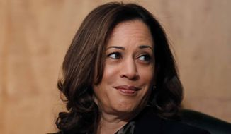 Sen. Kamala Harris, D-Calif., is seated during a hearing of the Senate Committee on Homeland Security and Governmental Affairs for Steven D. Dillingham to be director of the Census, on Capitol Hill, Wednesday, Oct. 3, 2018, in Washington. (AP Photo/Alex Brandon) ** FILE **