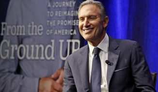 Former Starbucks CEO and Chairman Howard Schultz smiles as he is introduced during the kickoff of his book tour, Monday, Jan. 28, 2019, in New York. Democrats across the political spectrum lashed out at the billionaire businessman on Monday after he teased the prospect of an independent 2020 bid, a move Democrats fear would split their vote and all but ensure President Donald Trump's re-election. (AP Photo/Kathy Willens)