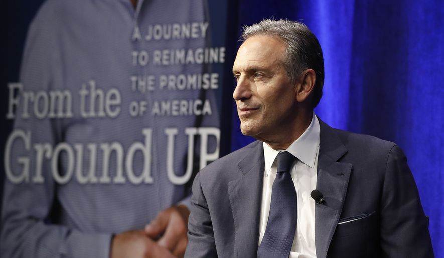 Former Starbucks CEO and Chairman Howard Schultz looks out at the audience during the kickoff event of his book promotion tour Monday, Jan. 28, 2019, in New York. Democrats across the political spectrum lashed out at the billionaire businessman on Monday after he teased the prospect of an independent 2020 bid, a move Democrats fear would split their vote and all but ensure President Donald Trump's re-election. (AP Photo/Kathy Willens)