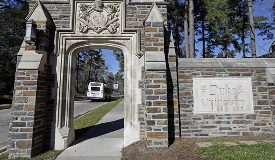 An entrance to the main Duke University campus is seen in Durham, N.C., on Jan. 28, 2019. (AP Photo/Gerry Broome)