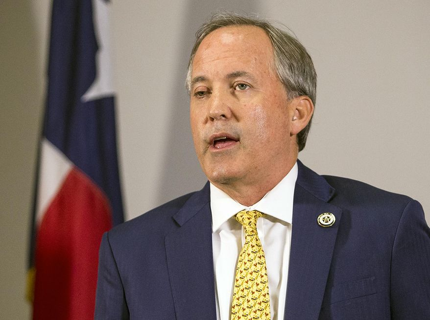 FILE - In this May 1, 2018, file photo, Texas Attorney General Ken Paxton speaks at a news conference in Austin, Texas. Civil rights groups are asking Texas officials to walk back a letter that questioned the citizenship of thousands of voters and prompted President Donald Trump to renew unsubstantiated claims of rampant voter fraud. Paxton told supporters in a fundraising email Monday, Jan. 28, 2019, that many of those people could have become citizens and voted legally. (Nick Wagner/Austin American-Statesman via AP, File)