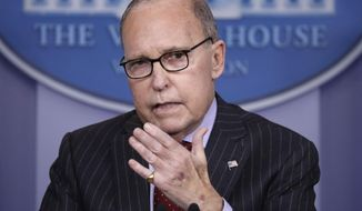 White House chief economic adviser Larry Kudlow speaks during a press briefing at the White House, Monday, Jan. 28, 2019, in Washington. (AP Photo/ Evan Vucci)
