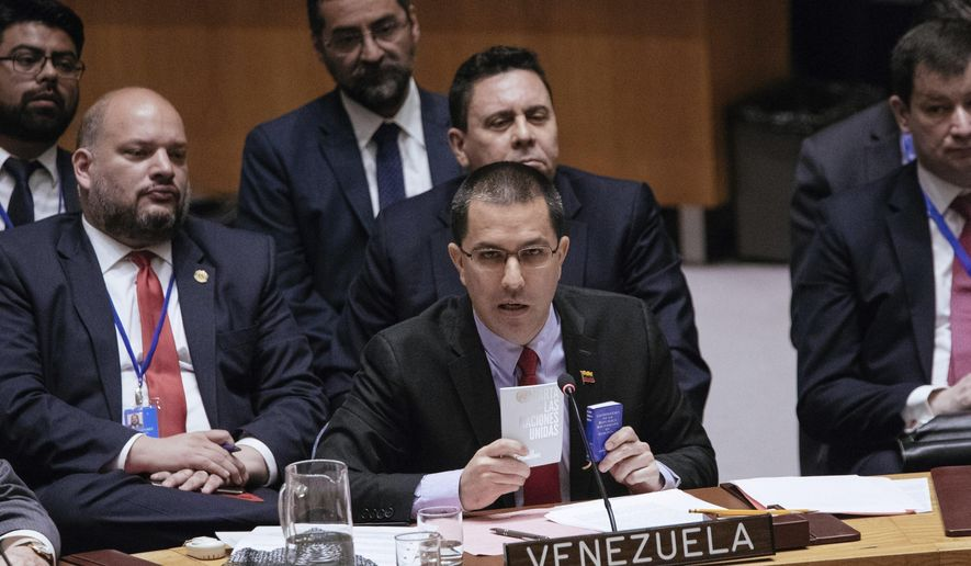 Venezuela's Minister of Foreign Affairs Jorge Arreaza speaks during the United Nations Security Council at the U.N. Saturday, Jan. 26, 2019, in New York. During the meeting, U.S. Secretary of State Mike Pompeo encouraged the council to recognize Juan Guaido as the constitutional interim President of Venezuela. (AP Photo/Kevin Hagen)