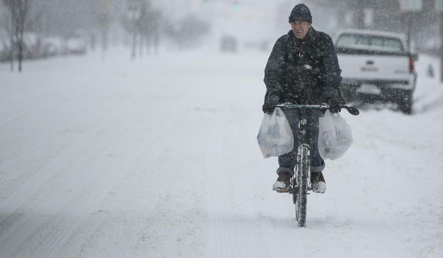 A cyclists rides down Mishawaka Ave. during a snowstorm Monday, Jan. 28, 2019, in South Bend, Ind. (Santiago Flores/South Bend Tribune via AP)