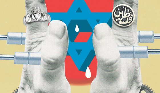 Illustration on Irish anti-Israel legislation by Linas Garsys/The Washington Times