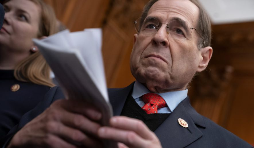 """Now more than ever, Congress must return to fundamental American ideals in leading our country out of the darkness,"" said House Judiciary Chairman Jerrold Nadler. House Democrats want to reform elections and restore voting rights to felons across the nation and impose restrictions on political campaign speech. (Associated Press photographs)"