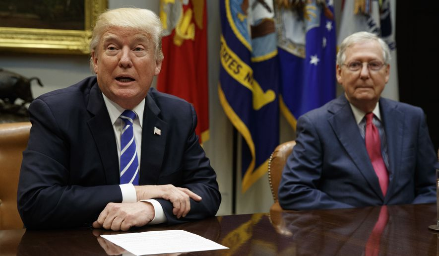 Senate Majority Leader Mitch McConnell, R-Ky., right, listens as President Donald Trump speaks during a meeting with congressional leaders and administration officials on tax reform, in the Roosevelt Room of the White House, Tuesday, Sept. 5, 2017, in Washington. (AP Photo/Evan Vucci) **FILE**