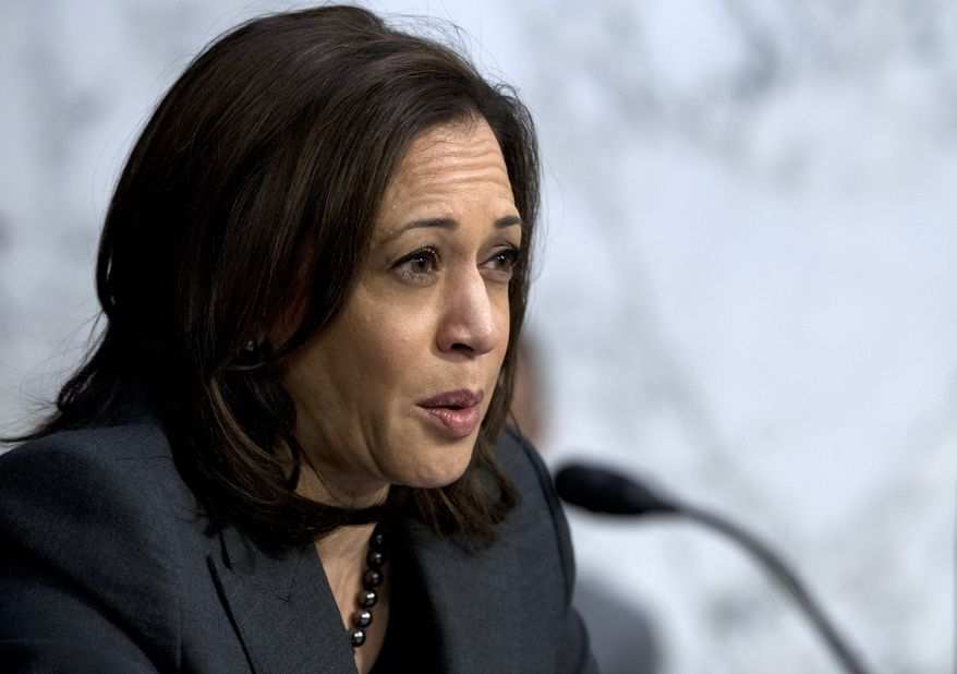 Sen. Kamala Harris, D-Calif. speaks during the the Senate Intelligence Committee hearing, on Capitol Hill in Washington Tuesday, Jan. 29, 2019. (AP Photo/Jose Luis Magana)