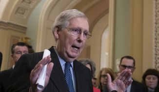 Senate Majority Leader Mitch McConnell, R-Ky., speaks to reporters asking about the threat of another government shutdown following their weekly strategy meeting, at the Capitol in Washington, Tuesday, Jan. 29, 2019. (AP Photo/J. Scott Applewhite) ** FILE **