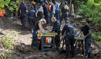 FILE - In this July 5, 2018, file photo, members of the Toronto Police Service excavate the back of a property in Toronto during an investigation in relation to alleged serial killer Bruce McArthur. The former landscaper, McArthur, accused of sexually assaulting, killing and dismembering men he met in Toronto's Gay Village district over seven years pleaded guilty on Tuesday, Jan. 29, 2019, to eight counts of first-degree murder. (Tijana Martin/The Canadian Press via AP, File)