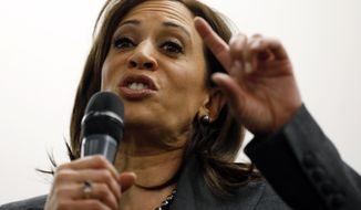 """We should be having a sound, respectful discussion about policy. You can both support Israel and be loyal to our country,"" Sen. Kamala Harris said. (Associated Press)"