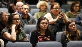 Drake University students listen to Sen. Kamala Harris, D-Calif., speak, Monday, Jan. 28, 2019, in Des Moines, Iowa. Harris formally announced on Sunday that she was seeking the Democratic presidential nomination. (AP Photo/Charlie Neibergall)