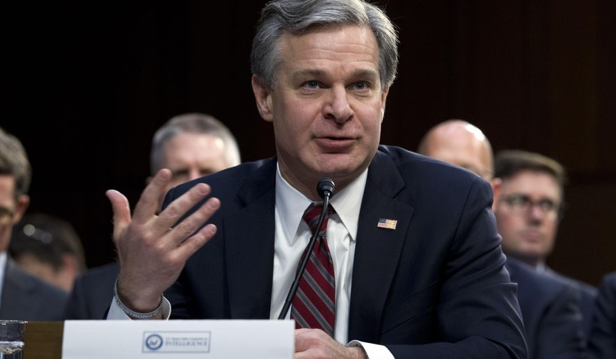 FBI Director Christopher Wray testifies before the Senate Intelligence Committee on Capitol Hill in Washington Tuesday, Jan. 29, 2019. (AP Photo/Jose Luis Magana)