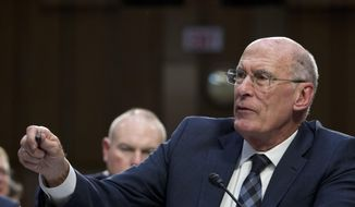 Then-Director of National Intelligence Daniel Coats testifies before the Senate Intelligence Committee on Capitol Hill in Washington Tuesday, Jan. 29, 2019. (AP Photo/Jose Luis Magana) ** FILE **