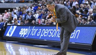 Auburn head coach Bruce Pearl reacts to a play during the final minute of an NCAA college basketball game against Kentucky Saturday, Jan. 19, 2019, in Auburn, Ala. (AP Photo/Julie Bennett)