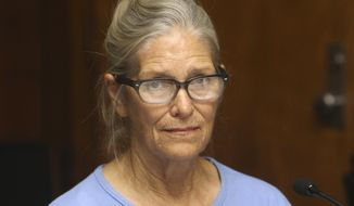 FILE - This Sept. 6, 2017 file photo shows Leslie Van Houten at her parole hearing at the California Institution for Women in Corona, Calif. The youngest follower of murderous cult leader Charles Manson will ask a state panel to recommend her for parole. Van Houten, who is now 69, is scheduled for a parole hearing Wednesday, Jan. 30, 2019 at the California Institute for Women. Van Houten was previously recommended for parole twice by a state panel but former California Gov. Jerry Brown blocked her release. (Stan Lim/Orange County Register/SCNG via AP, Pool, File)