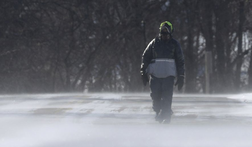Dick Raab walks near High Cliff state Park during a polar vortex that brought extremely cold temperatures and dangerous wind chill temperatures on Wednesday, Jan 30, 2019, in Sherwood, Wis. (Wm. Glasheen/The Post-Crescent via AP)