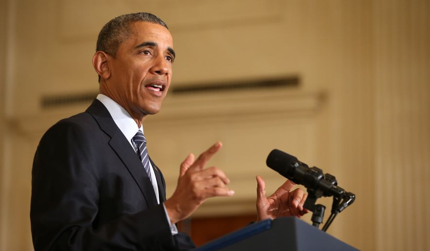 Then-President Barack Obama speaks about his Clean Power Plan, Monday, Aug. 3, 2015, in the East Room at the White House in Washington. (AP Photo/Andrew Harnik) ** FILE **